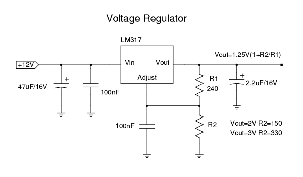 LM317 voltage regulator circuit